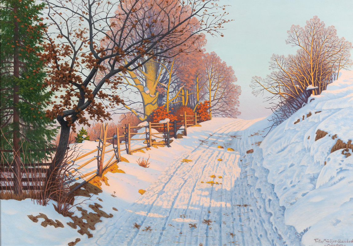 Fritz Muller-Landeck. A Sunny Winter Path