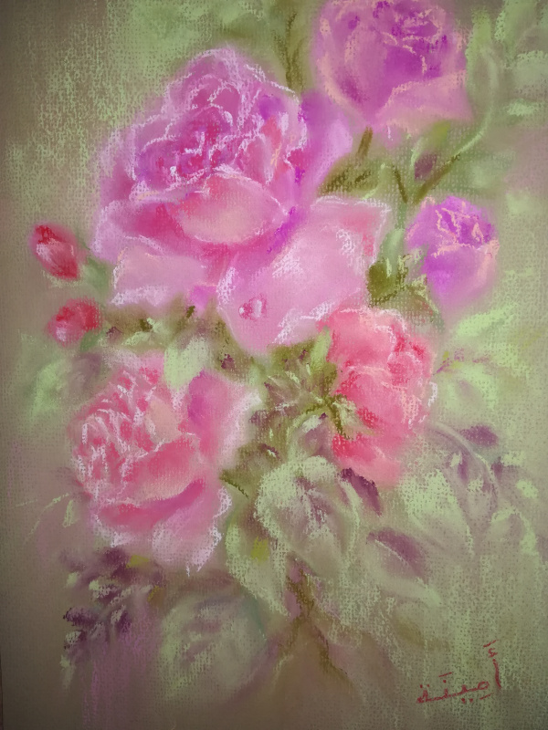 Amina. Author's picture with dry pastel Roses