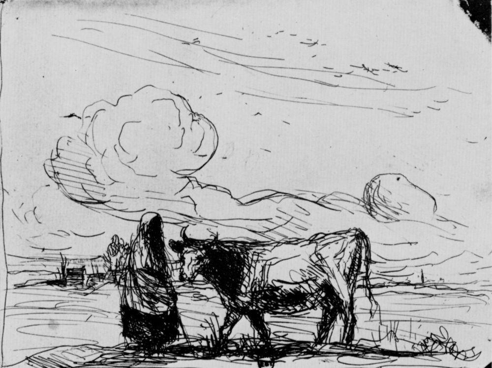 Камиль Коро. Корова со сторожихой