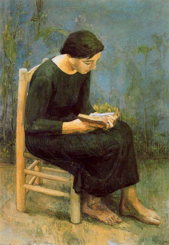 Антонио Лопес Гарсия. Женщина читает книгу