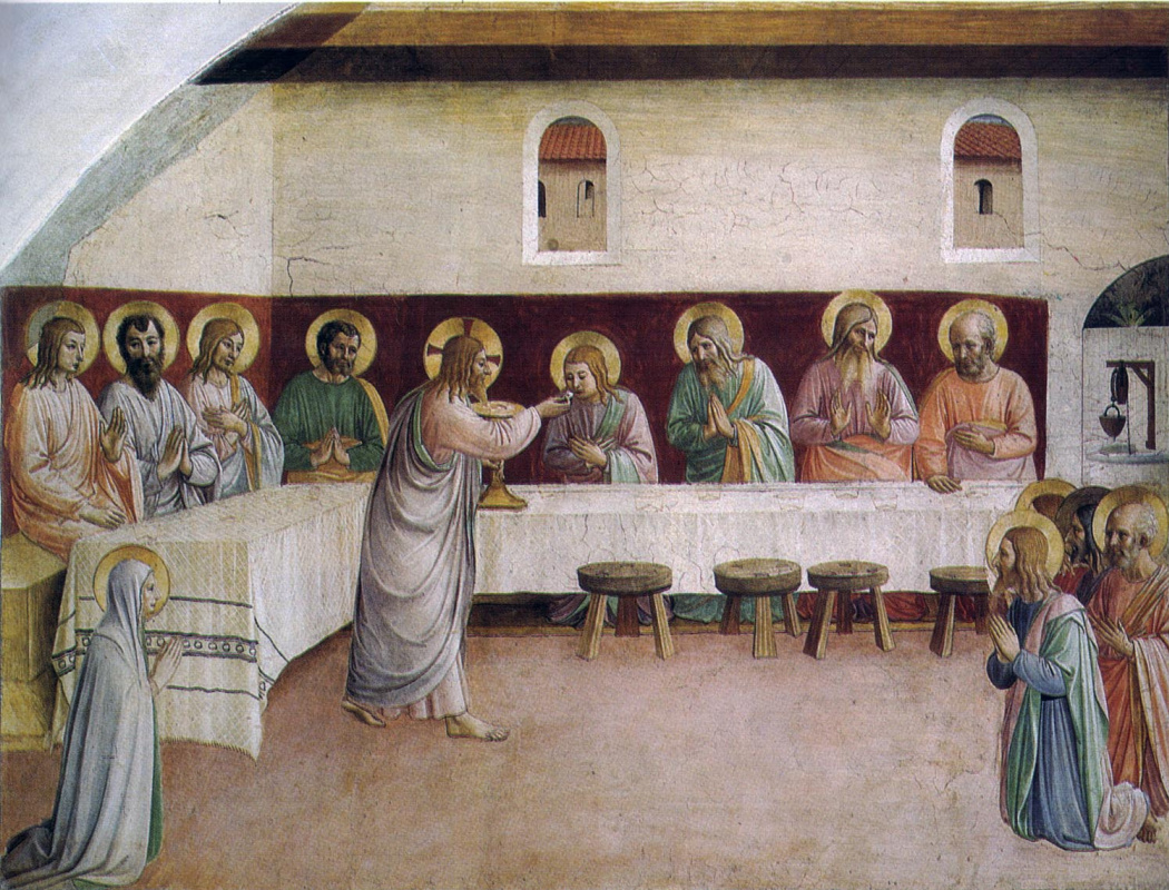 Fra Beato Angelico. The Last Supper: Communion of the Apostles. Fresco of the Monastery of San Marco, Florence