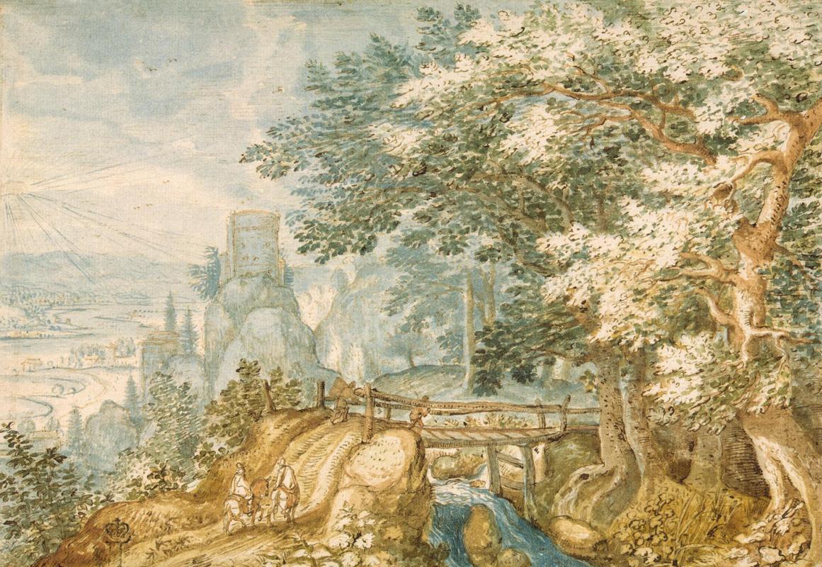 Питер Младший Стевенс. Пейзаж с мостиком