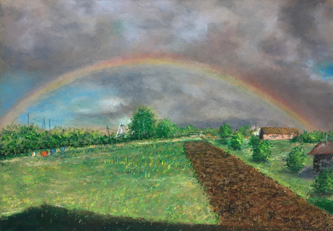 Albert Safiullin. Country landscape with a rainbow. Old Baryshevo.