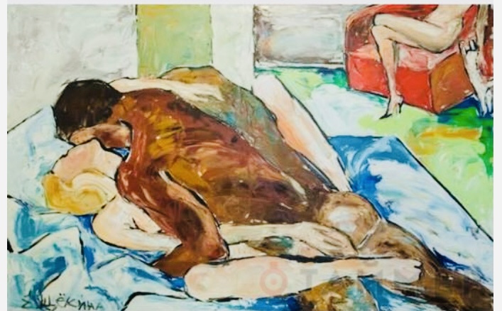 """Elena Shchekina. """"A man and a woman in bed and a woman with a cat"""" oil on canvas 90x130"""
