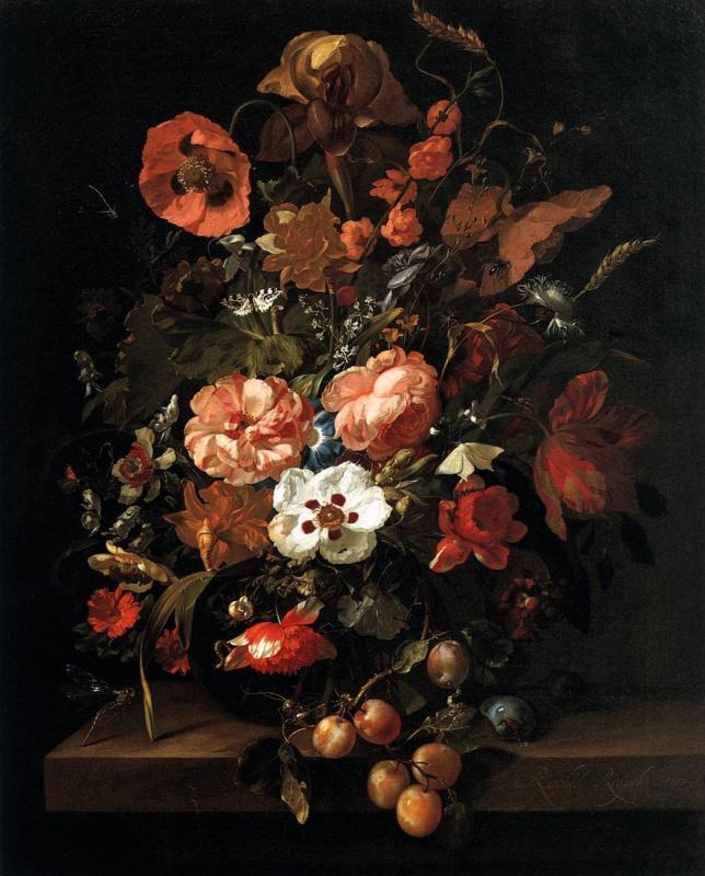 Rachelle Ruysch. Bouquet in a glass vase