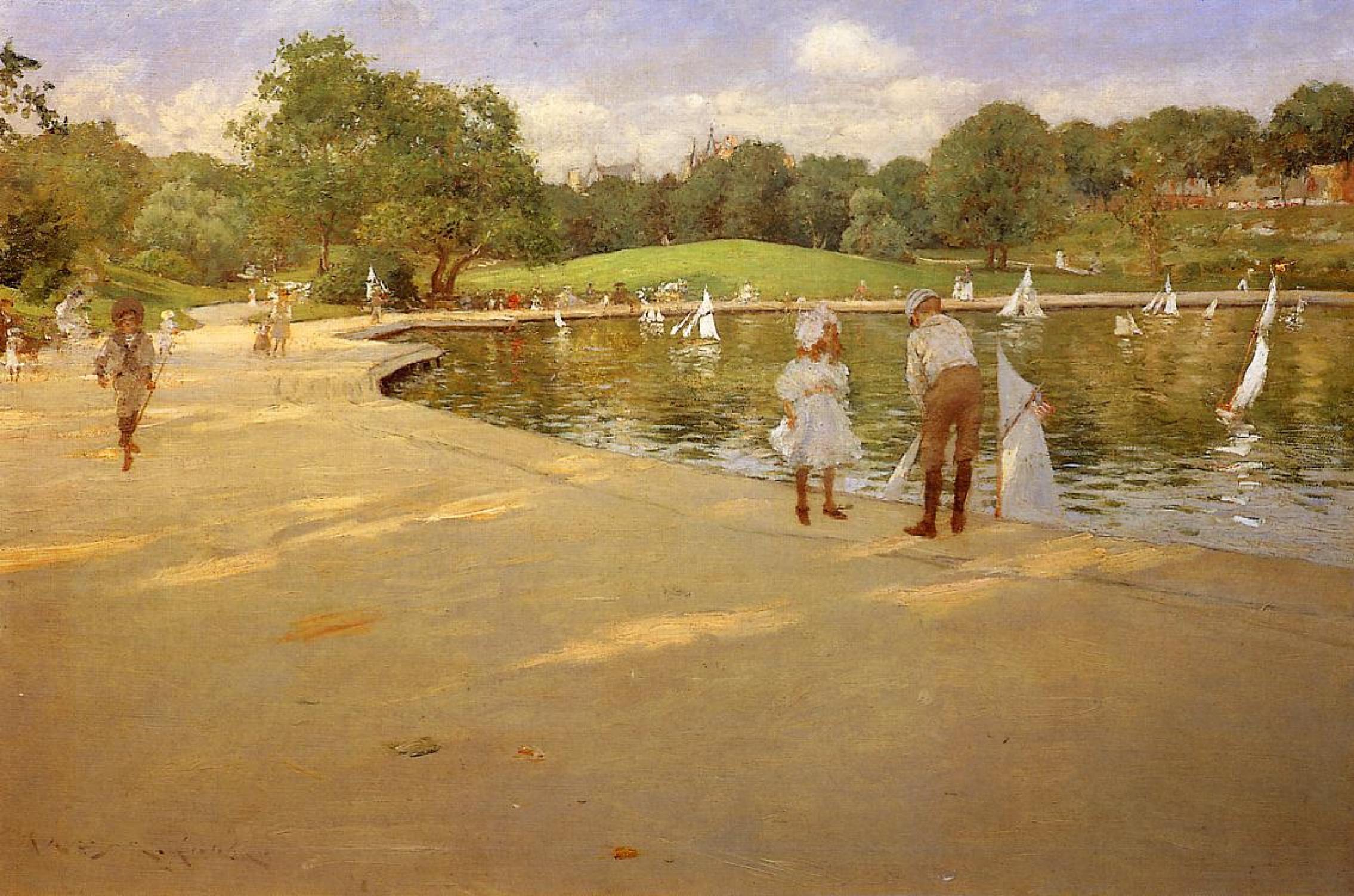 Уильям Меррит Чейз. Озеро для миниатюрных яхт в Центральном парке