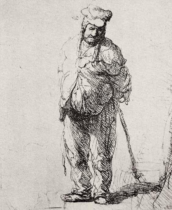 Рембрандт Ван Рейн. Стоящий нищий с руками за спиной