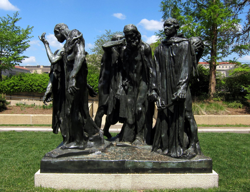 The Burghers of Calais, an 1889 sculpture by Auguste Rodin, located in the Hirshhorn Museum's Sculpture Garden, on the National Mall in Washington, D.C.