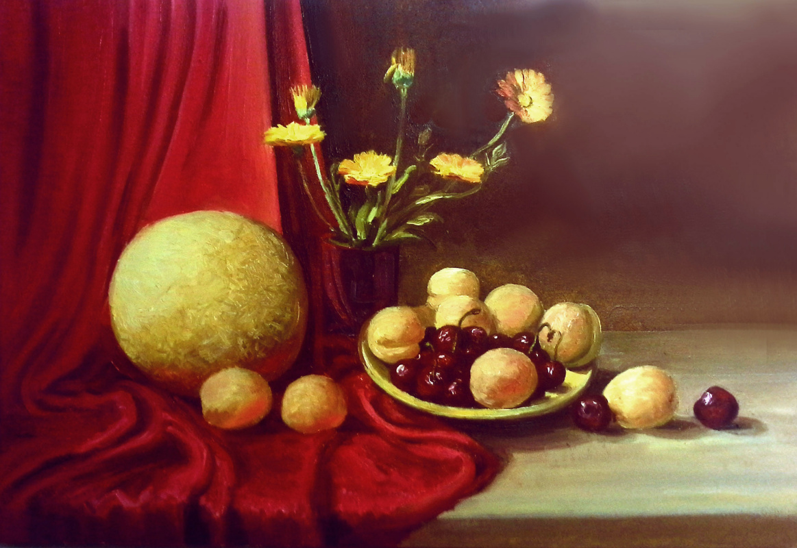 Olga Suncheleeva. Still life with fruit