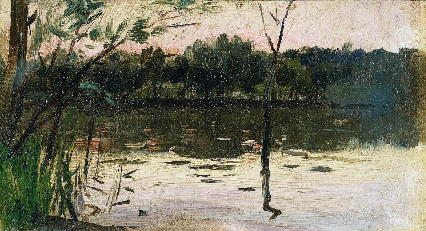 Исаак Ильич Левитан. Пейзаж с розовым закатом