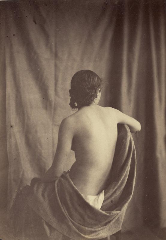 Eugene Delacroix. Model (draped cloth Nude girl)
