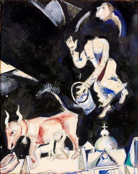 Марк Захарович Шагал. Корова на крыше