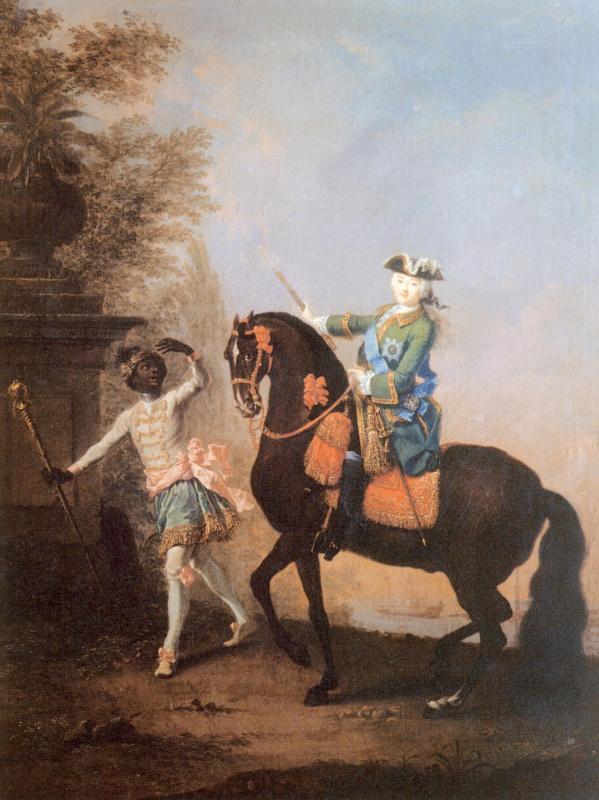 Георг-Христофор Гроот. Конный портрет Елизаветы Петровны с арапчонком