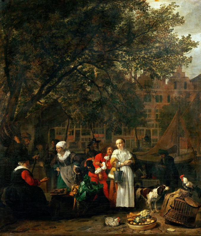 Gabrielle Metsu. Vegetable market in Amsterdam