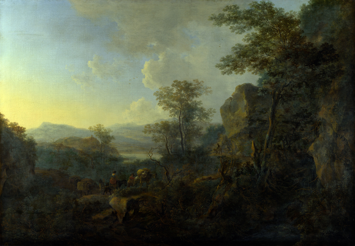 Jan Bot. Rocky landscape with peasants and Laden mules