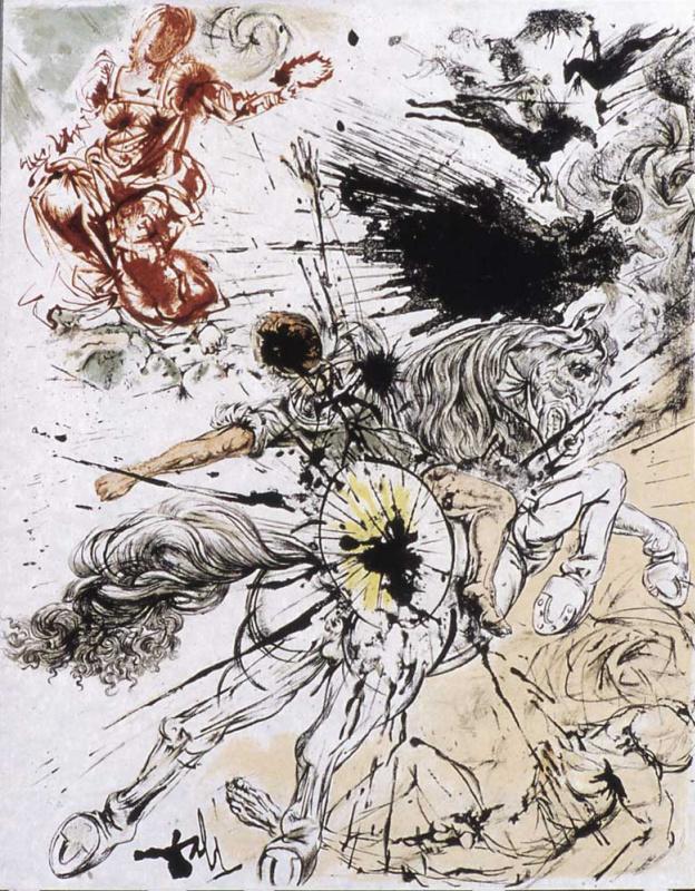 "Salvador Dali. The vision of Dulcinea (illustration for the novel ""don Quixote"")"