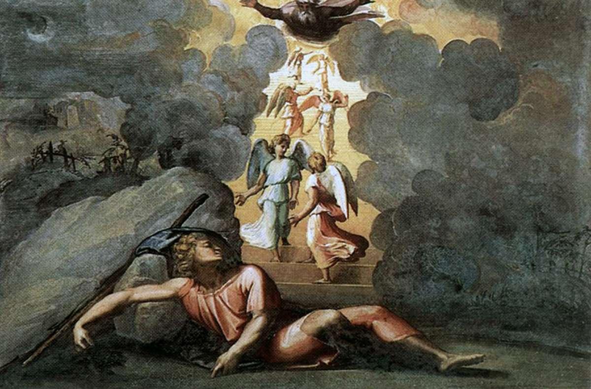 Рафаэль Санти. Сон Иакова (Лестница Иакова). Фреска лоджии Рафаэля дворца понтифика в Ватикане