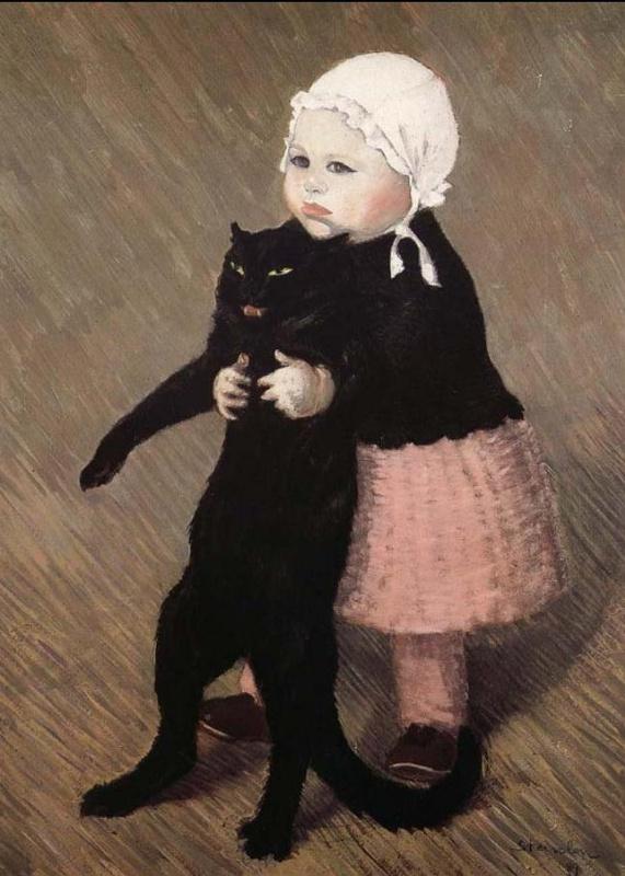 Теофиль-Александр Стейнлен. Маленькая девочка с черным котом