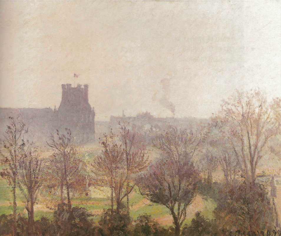 Camille Pissarro. Garden Of The Louvre. The fog effect