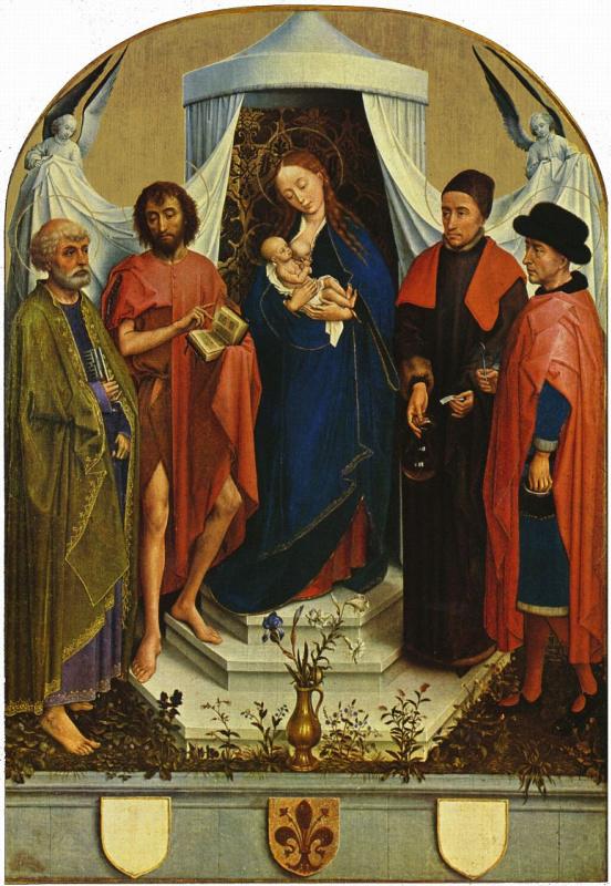 Рогир ван дер Вейден. Мадонна со святым Петром, Иоанном Крестителем, святыми Козьмой и Дамианом, Мадонна Медичи