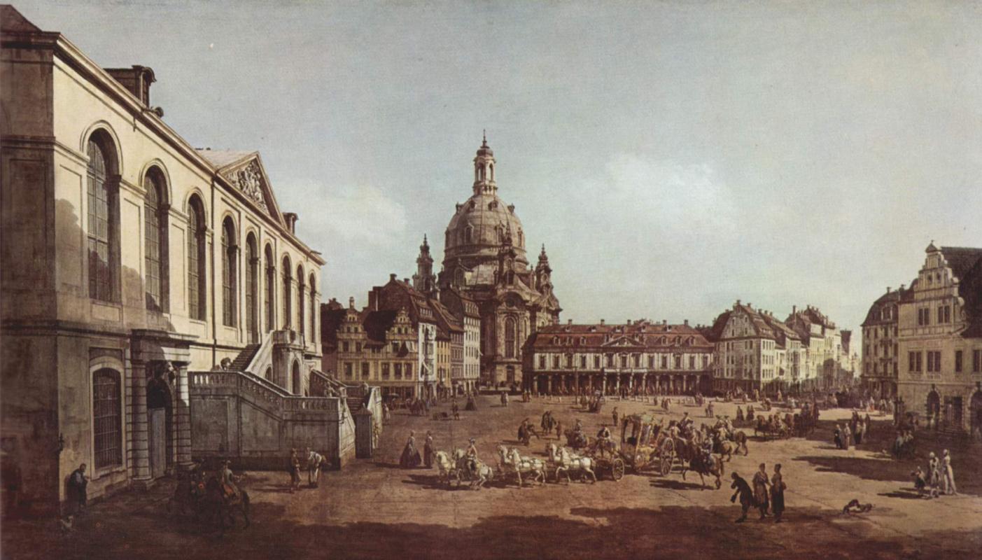 Джованни Антонио Каналь (Каналетто). Вид Дрездена, Новый рынок со стороны Еврейского подворья