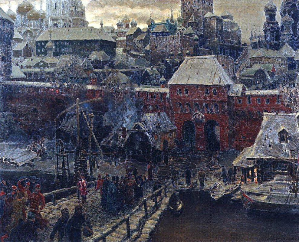 Аполлинарий Михайлович Васнецов. Москворецкий мост и Водяные ворота