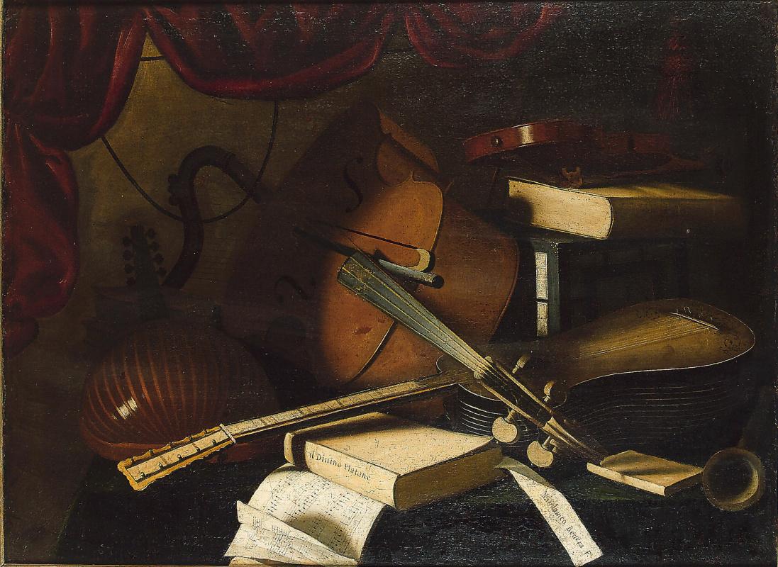 Bartolomeo bettera. Lute, cello, violin, guitar, sheet music and books on the table