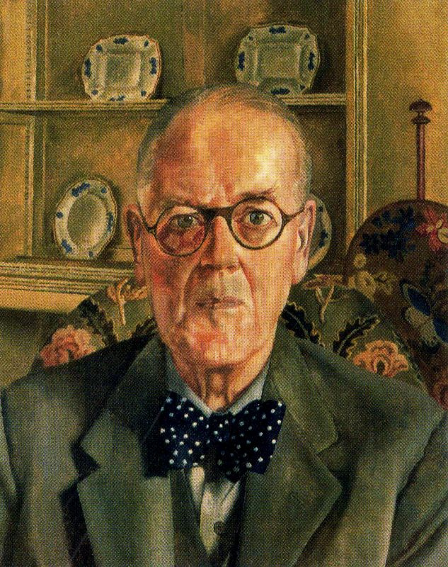 Stanley Spencer. Portrait of an elderly man with glasses