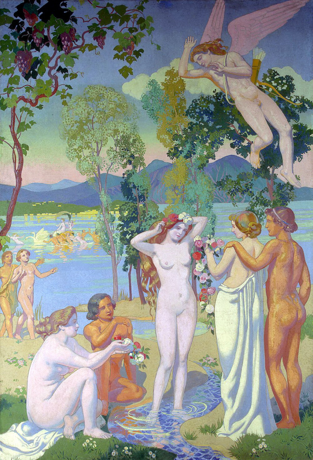Maurice Denis. Flying Cupid struck by the beauty of psyche