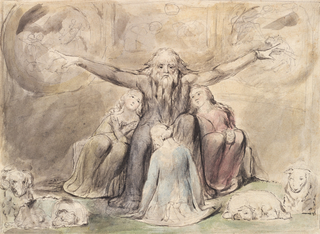William Blake. The Book Of Job. Job and his daughters