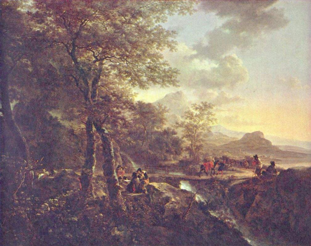 Ян Бот. Итальянский пейзаж с художником
