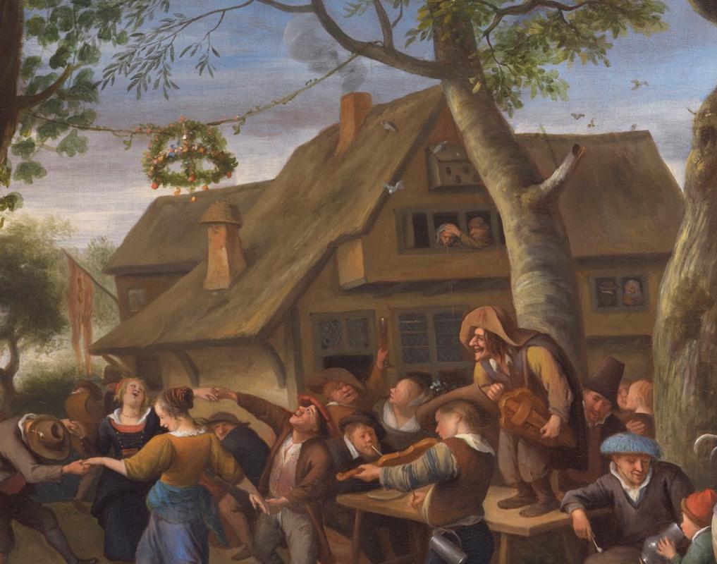 Jan Steen. Fair Varmonde. Peasants making merry at the coaching Inn (fragment 3)