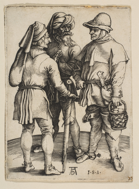 Albrecht Durer. The conversation of three peasants