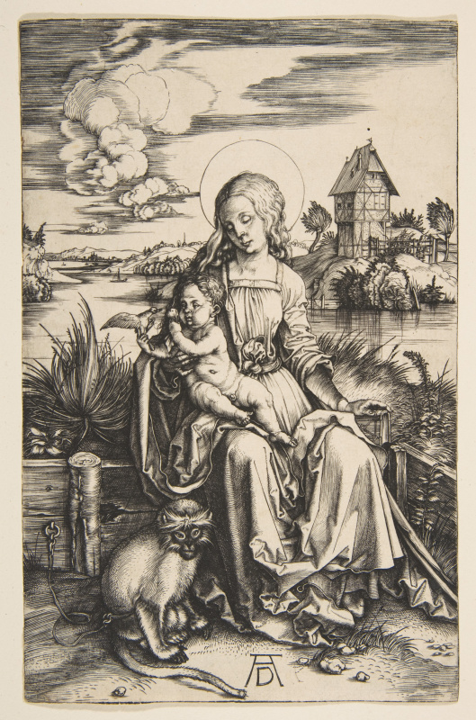 Albrecht Dürer. Mary and child with a monkey