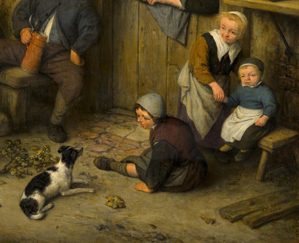 Adrian Jans van Ostade. Violinist. Fragment. Children and dog