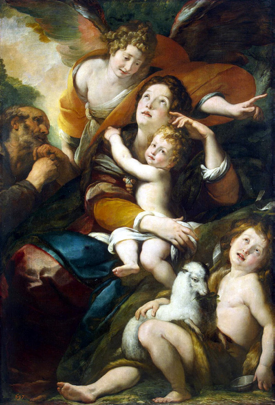 Джулио Чезаре Прокаччини. Святое Семейство с Иоанном Крестителем и ангелом