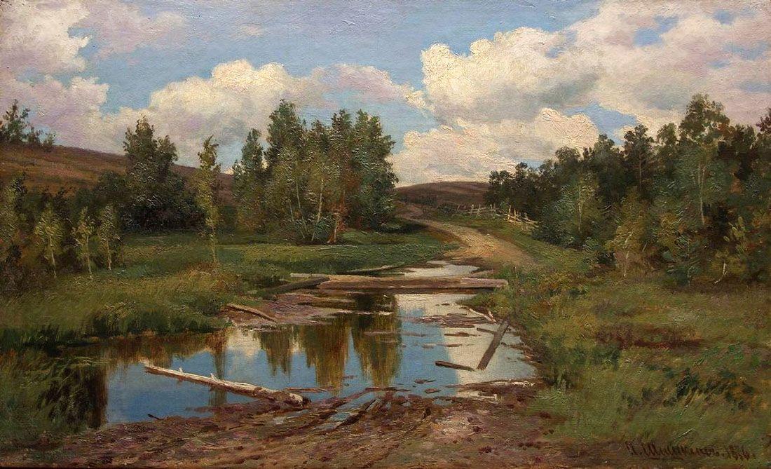 Ivan Shishkin. Forest landscape. Road