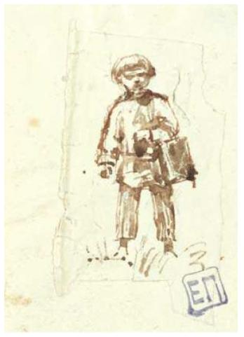 Elena Dmitrievna Polenova. Boy carrying lunch in the field. Olshanka