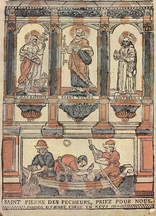 Пьер Порше. Святой Пётр, покровитель рыбаков, с Иоанном Крестителем, святым Бруно и сценой рыбной ловли