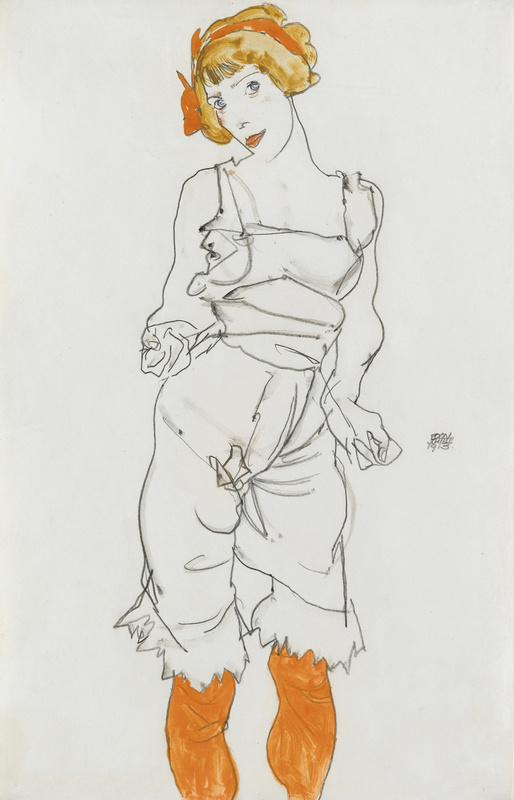 Egon Schiele. Woman in lingerie and stockings