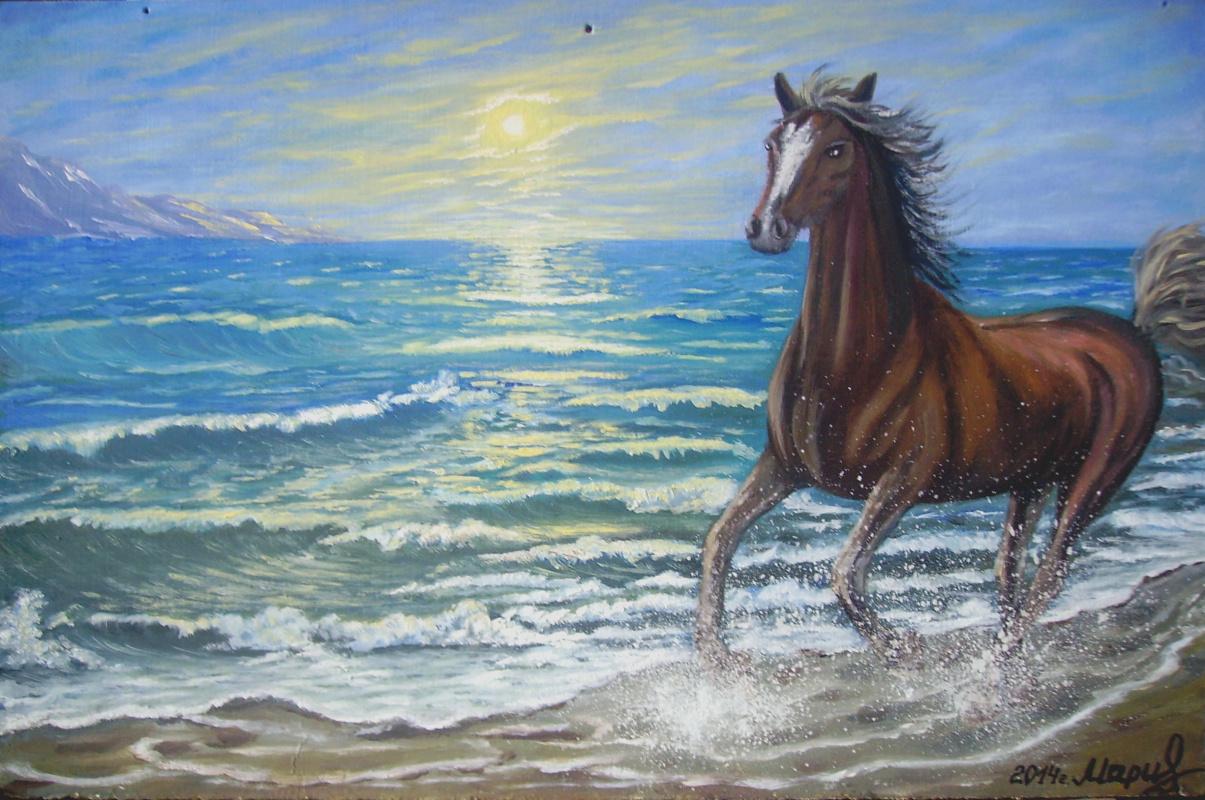 лошадь бегущая по волнам картинка частая