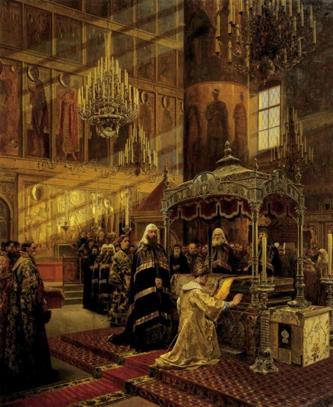 Царь Алексей Михайлович и Никон, архиепископ Новгородский, у гроба чудотворца Филиппа, митрополита Московского