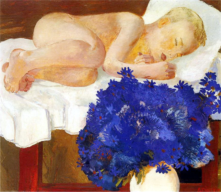 Александр Александрович Дейнека. Спящий ребенок с васильками