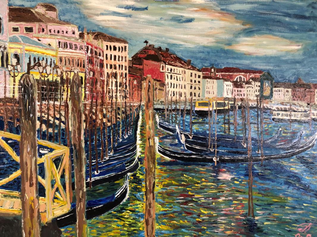 Sergey Vladimirovich Sebini. Dawn in Venice. Embankment San Marco.