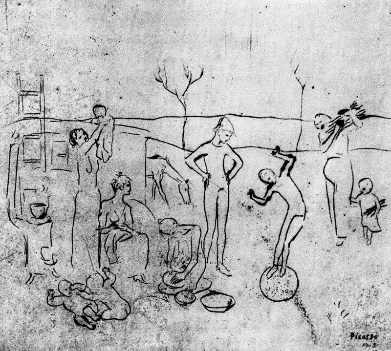 Пабло Пикассо. Комедианты (набросок)