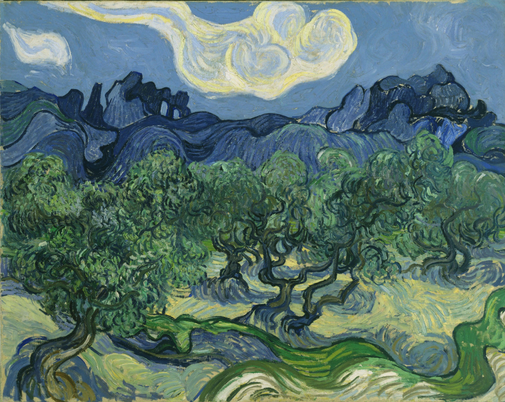 Vincent van Gogh. Olive trees on the background of the Alps