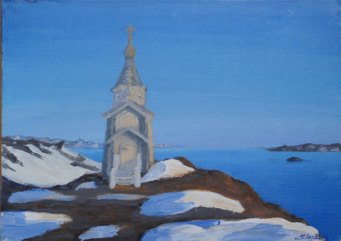 Unknown artist. Temple in Antarctica on King George Island