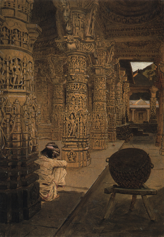 Колоннада в Джайнском храме на горе Абу вечером. Этюд