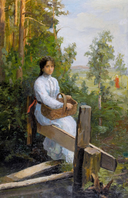 Федор Васильевич Сычков. Молодая женщина в белом платье с корзиной.  1903