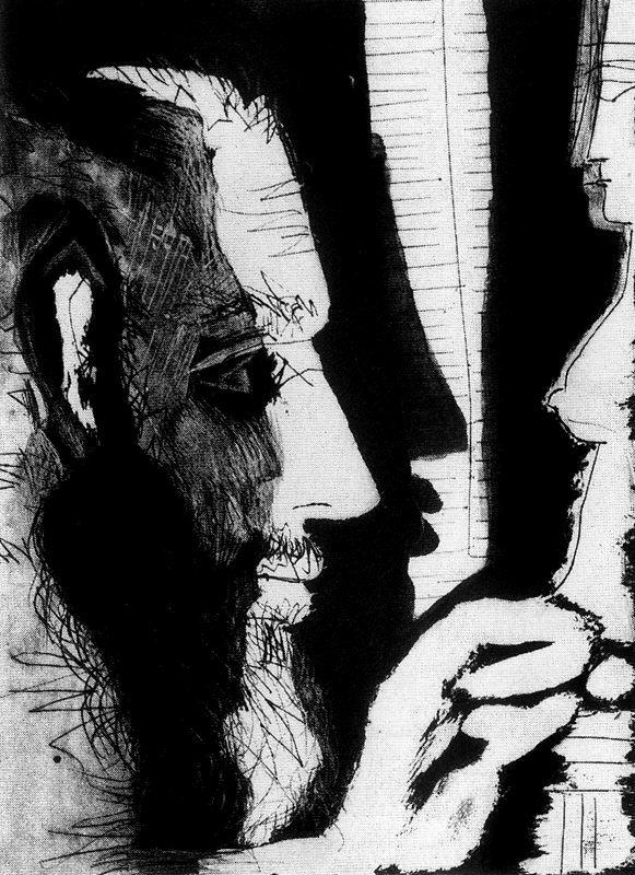 Пабло Пикассо. Скульптор, работающий над женским бюстом